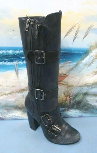 Aldo Black Women's Lace-Up/ Buckle Knee-High Heel