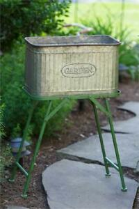 New Primitive Rustic Vintage Style Galvanized Wash Tub Planter Green Stand Tub Ebay