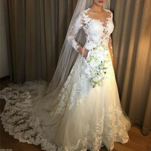 Illusion Lace Appliques Wedding Dresses A Line Long Sleeves Beach Bridal Gown