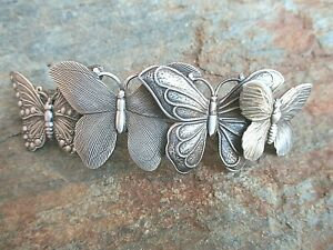 Butterflies-Silver-Plated-Hair-Barrette-French-Made-80mm-Clip-Made-in-USA-6041S