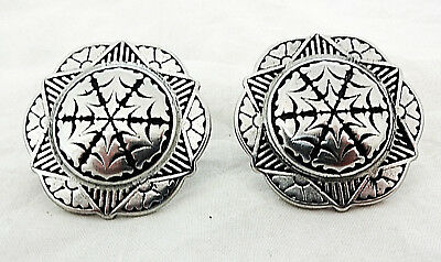 """Pair Jeremiah Watt Old Time Conchos Screw Back 1/"""" Horse Tack New Stainless Steel"""