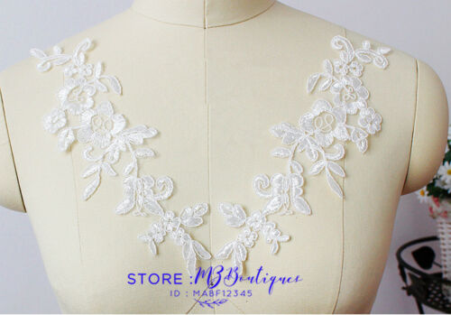 24*7cm 2PC Flower Embroidered Lace Trim Sewing Applique Dress Skirt Decor FP122