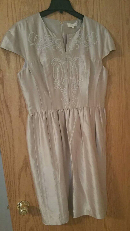 895 Tory Burch Jessie Dress Embellished Shell Beige Silk US Size 14 NWT