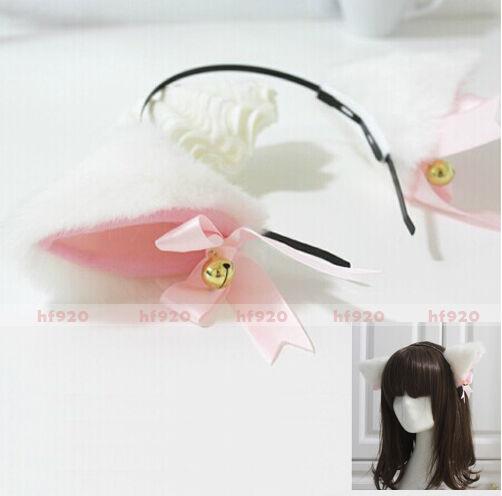 New Cute Anime Cosplay Costume Party Long Fur Neko Cat ears Headband White