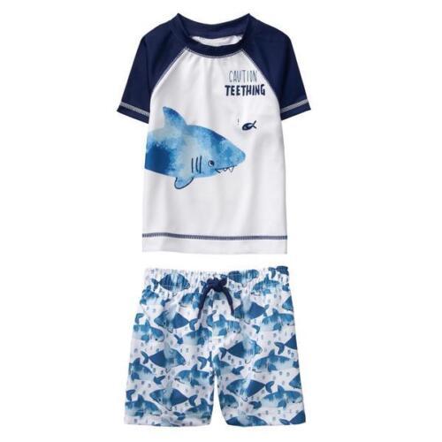 NWT Gymboree Baby Boy Rash Guard Shark Shorts Set UPF 50 Swimsuit