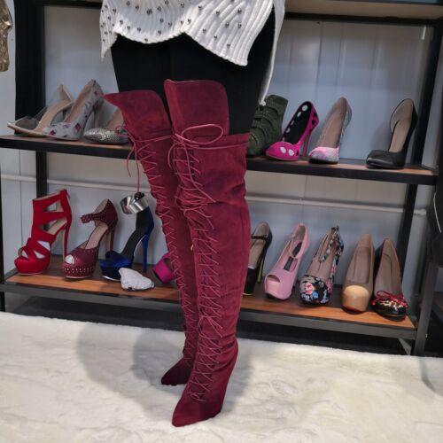 con Botas cremallera vino en cordones para con el grandes muslo Zapatos Rojo gamuza de mujer alto delgados tacón de Tallas H86qOxfwFH