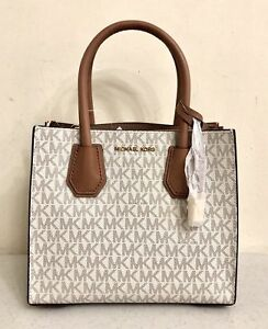 2022c65d07c6 Image is loading Michael-Michael-Kors-Mercer-Medium -Signature-Vanilla-Messenger-