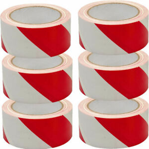50mm-33m-White-and-Red-Self-Adhesive-Hazard-Warning-Safety-Tape-Roll-P219-NEW