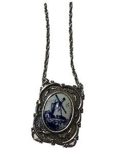 Vtg-Sarah-Coventry-Delft-Blue-WINDMILL-Necklace-Silver-tone-Chain-18-034