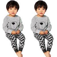 2PCS Kids Baby Boy Girl T-Shirt Tops Tee+Long Pants Leggings Clothes Outfits Set