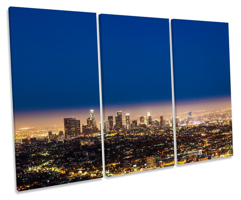 Los Angeles City Skyline Night TREBLE CANVAS WALL WALL WALL ART Box Framed Picture daa2f4