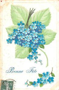 CPA-Fantaisie-Bonne-Fete-Bouquet-de-myosotis