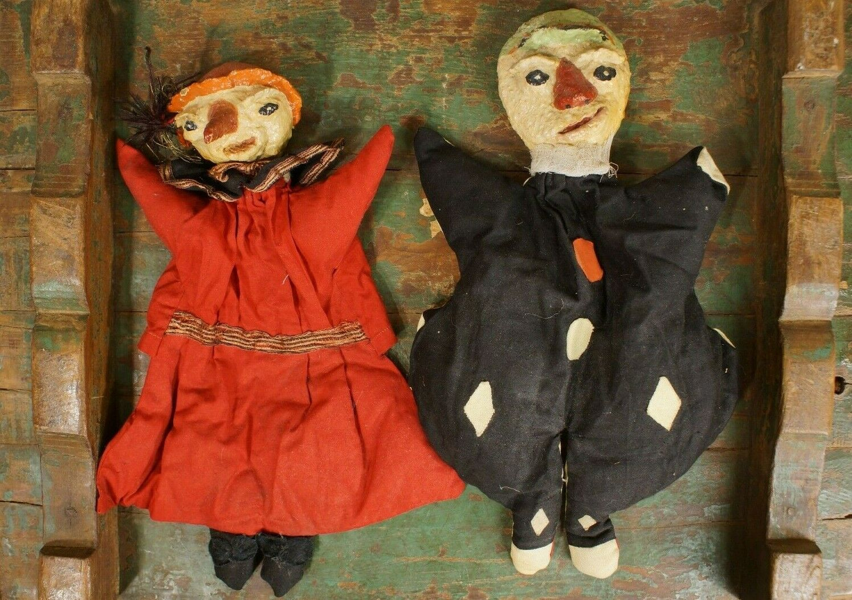 Antiguo Papel Maché Hechos a Mano Marioneta Muñecas (espeluznante rostros)