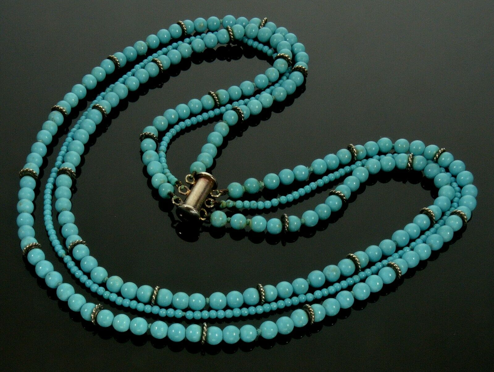 Sterling Silver and Turquoise Beaded 3 Strand Necklace-16-17 long