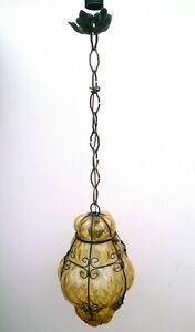 Lampadario Vetro Soffiato.Dettagli Su Lampada Da Soffitto Lampadario Vetro Soffiato Ingabbiato Anni 50 Murano Venezia