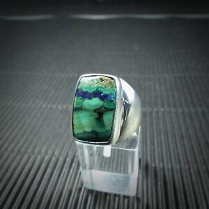 Ring-Gr-59-Silber-925-mit-einem-Azurit-Malachit-Cabochon-aus-Arizona