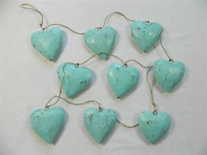 Cool Details About Wooden Heart Bunting Wall Art String Of 9 Shabby Chic Hearts Duck Egg Blue Home Interior And Landscaping Ponolsignezvosmurscom