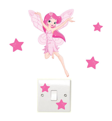 Flying Fairy /& Stars Light Switch Wall Stickers Children/'s Tinkerbell Bedroom
