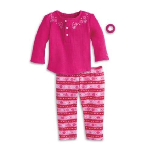 American Girl Fair Isle PAJAMAS retired Pjs slippers charm NO DOLL NIB pink
