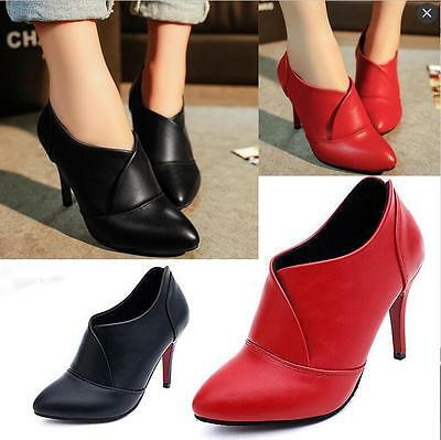 Winter Womens Ladies Leather High Heels Stilettos Ankle Boots Pointed Shoes X113