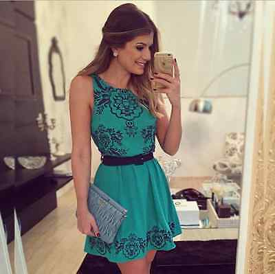 New Women's Summer Sexy sleeveless Floral Casual Short Evening Party Mini Dress