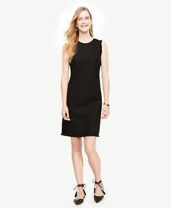 66332c3bae NWT Ann Taylor Sleeveless Fringe Trim Shift Dress $149.00 NEW Black ...