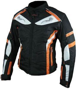 Heyberry-Damen-Motorrad-Jacke-Motorradjacke-Textil-Schwarz-Orange-Gr-S-bis-XXL