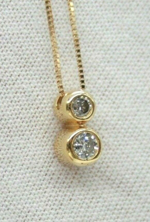 14K YELLOW gold TWO BEZEL SET DIAMONDS DROP PENDANT WITH 14K YELLOW CHAIN 17