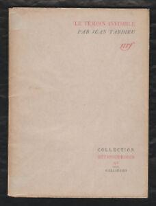 Detalles De Poesie Le Témoin Invisible Par Jean Tardieu Nrfgallimard 1943 Métamorphoses Xv