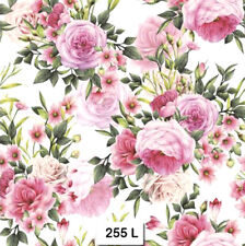 (255) TWO Individual Paper Luncheon Decoupage Napkins - PINK ROSES, FLOWERS