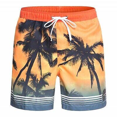 Quiksilver Paradise Palm Print 17 Inch Swim Short Orange-uomo Bagno Doposcuola-mostra Il Titolo Originale Ampie Varietà