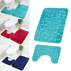 Fashion-2PCS-Household-Toilet-Anti-Slip-Mat-With-Rubber-Backing-Bathroom-Rug