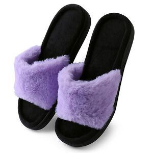 6454646cb978f9 Purple Women Open Toe Faux Fur Fluffy Slide Slip On Slippers Flat ...