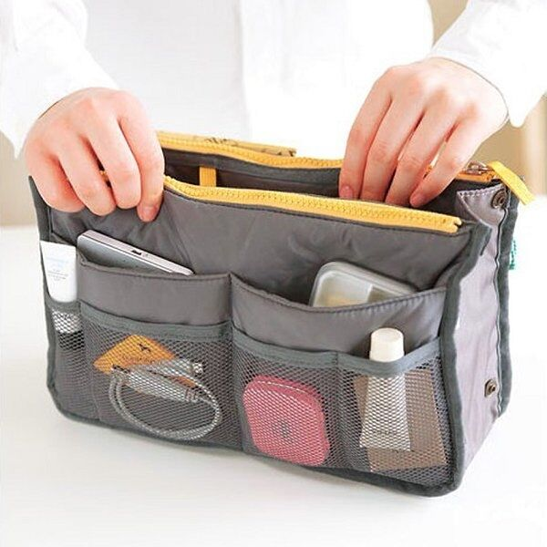 1x Pop Handbag Purse Dual Organizer Insert Phone Cosmetic Storage Nylon Bag - 6A