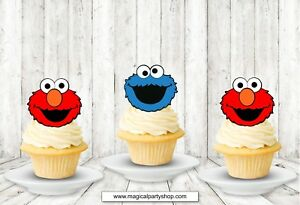 Image Is Loading Sesame Street Cookie Monster Or Elmo Cupcake Toppers
