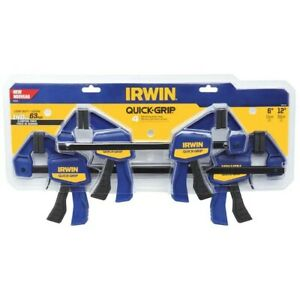 Irwin 4 Pieces Quick-Grip One-Handed Handi /& Bar Clamps Set Woodworking Hobby