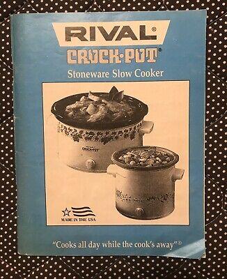 Rival Crock Pot Stoneware Slow Cooker Cook Book Tips 1996 Adapting Recipe Manual Ebay