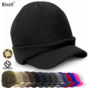 d89e2f8a27a Men Visor Beanie Camo Ball Cap Hat Knit Ski Hunting Army Military ...