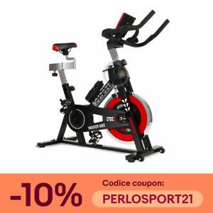 Bicicletta indoor Daspinning regolabile display LCD volano inerzia 18kg PROFESSI