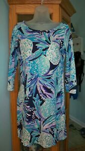 Lilly-Pulitzer-Knit-Dress-100-Cotton-Sz-Small-Shades-of-Blue-3-4-Sleeves