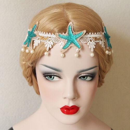 Hairband Wedding Lace Crown Seaside Starfish Pearl Drop Headband Party