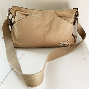 FOSSIL-Women-Shoulder-Bag-Purse-Tan-Brown-Canvas-Zip-Closure-Adjustable-Strap