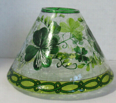 YANKEE CANDLE Lucky Shamrocks Crackle Glass Votive Holder New in the Box