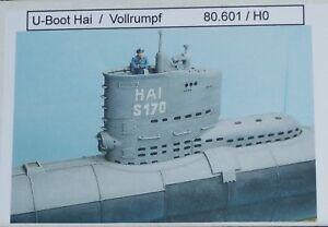 Artmaster-80-601-U-Boot-Hai-Vollrumpf-Typ-XXIII-H0-1-87-Neu-OVP-Bausatz