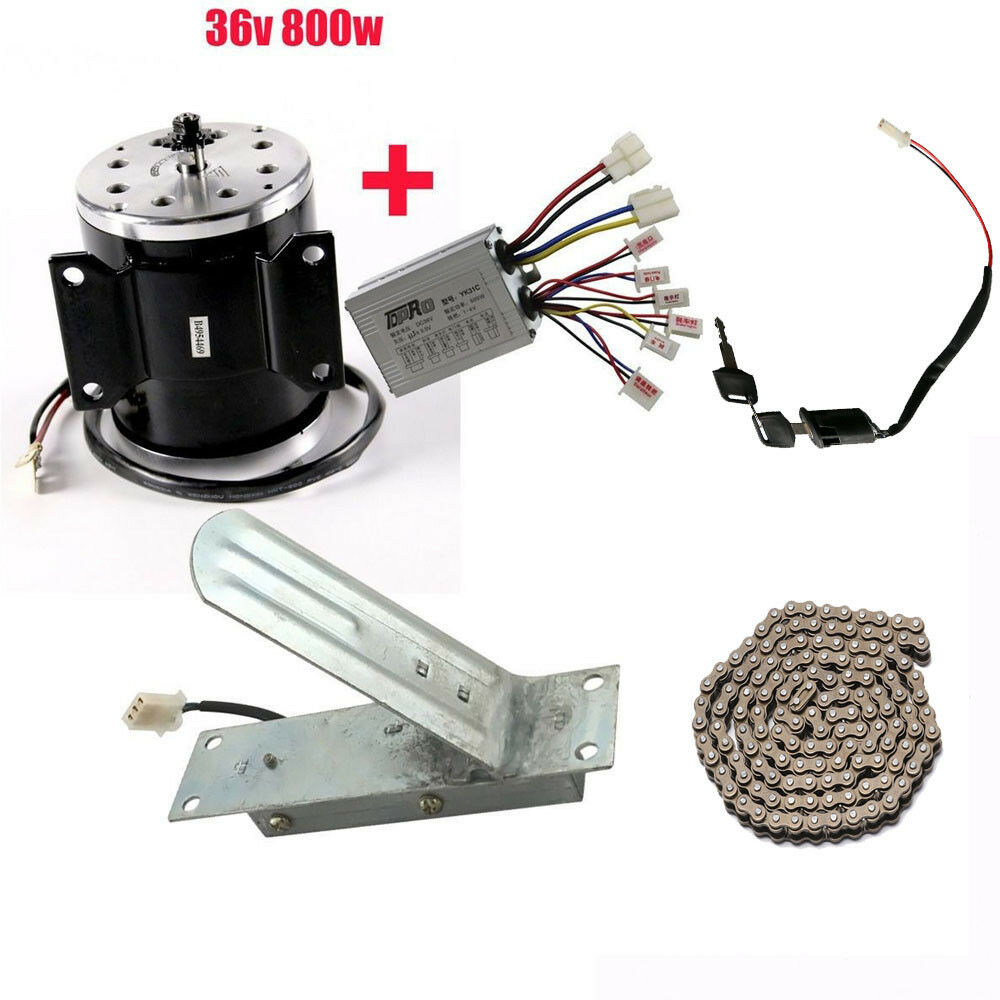 36V 800W Electric Brush Motor + Speed Controller + Foot Pedal Thredtle +Chain 25