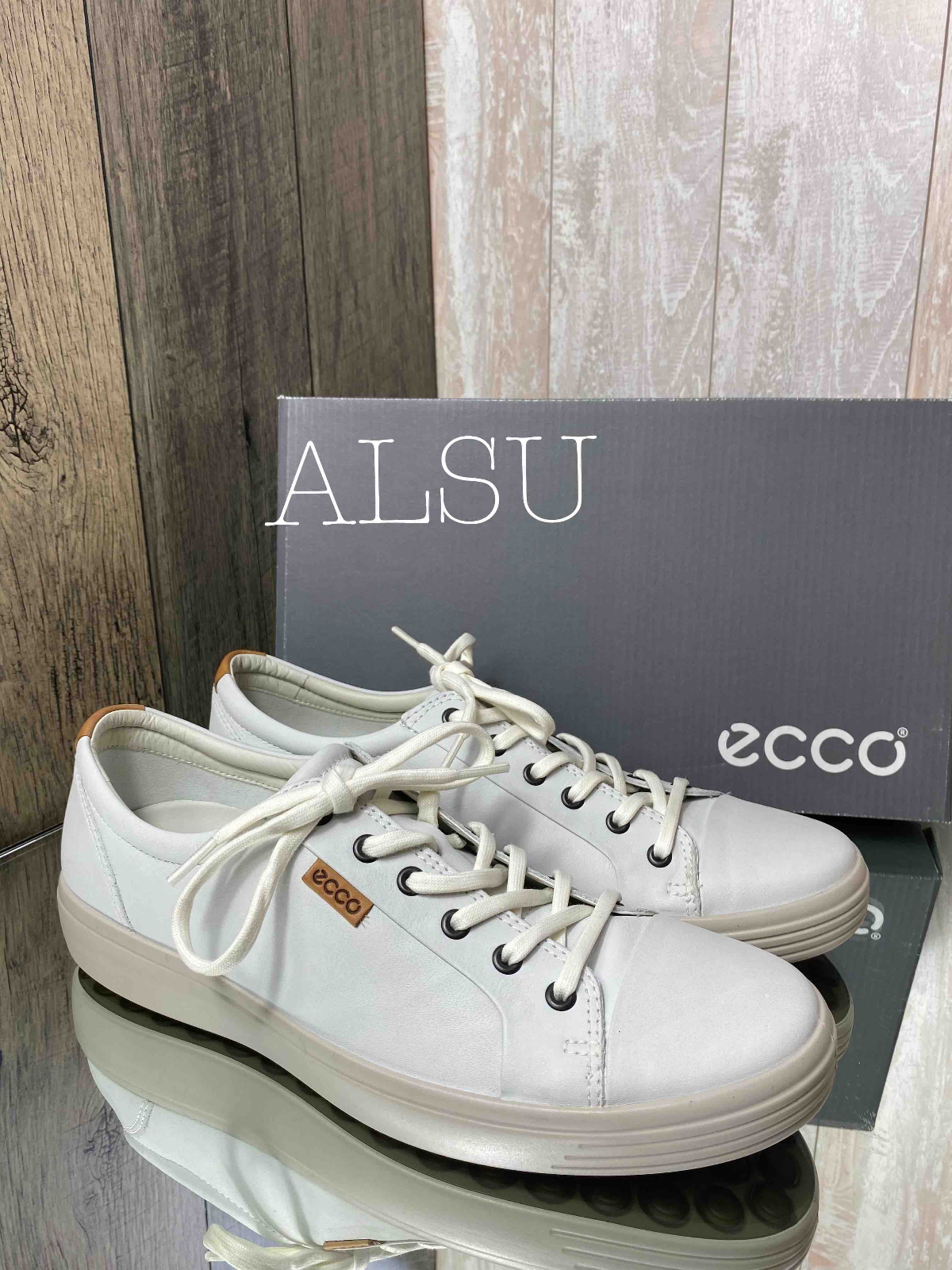 Sneakers Fashion Men's ECCO Soft 7 M White Leather Low Top 430004 51334