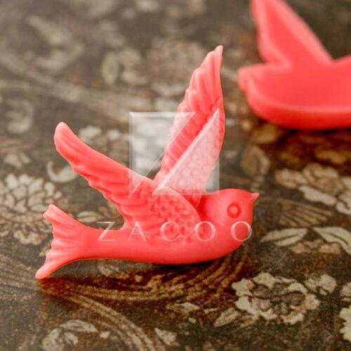 2//14pcs Resin Flatback Cabochons Cameo Lovely Bird Embellishments 25x22x4mm