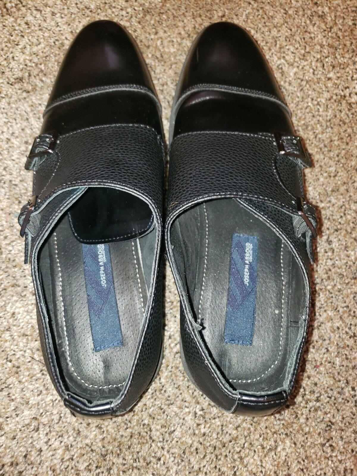Joseph Abboud Men'sShoe Black Leather Double Monk Strap Buckle Size 10.5