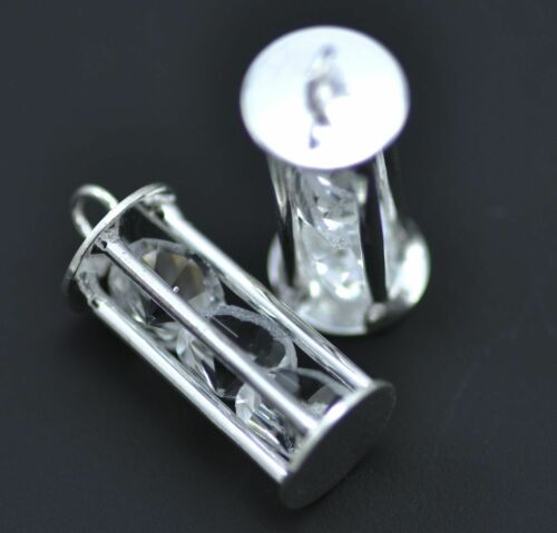 5x Caged Capture Crystal Silver Plated Lattern Charm Pendants Jewellery Making