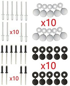 lot 10 rivet cache noir ou blanc plaque d 39 immatriculation voiture moto scooter ebay. Black Bedroom Furniture Sets. Home Design Ideas
